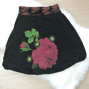 Stylish DESIGUAL Rose Design Bubble Skirt